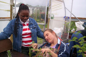 Karen is supported by Canterbury Oast Trust to learn how to grow plants and flowers in our horticultural Life Skills project.